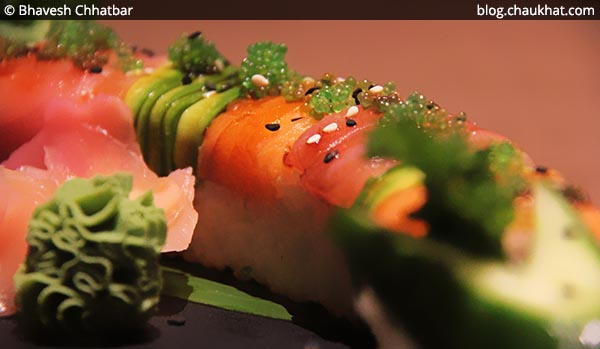 Close-up of Rainbow Maki Sushi at Shizusan (The Asian Bistro) in Phoenix Market City at Viman Nagar area of Pune