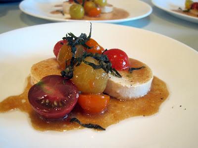 "Momofuku ""caprese"" salad - cherry tomatoes, tofu, sherry vinegar-sesame-soy vinaigrette, shiso leaf."