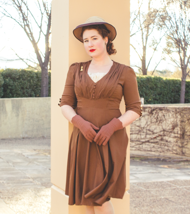 1940's inspired ensemble in sepia tones | Lavender & Twill