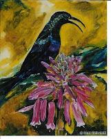 """""""Element - Luft: Bindennektarvogel"""", Öl auf Leinwand, 25x31, 07/2003"""