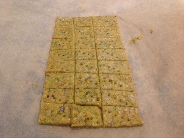 falafel crackers ready to be baked