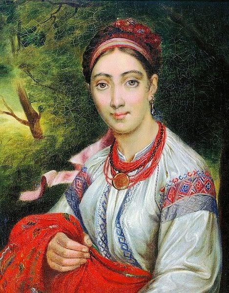 Vasily Tropinin - Ukrainian Girl in a Landscape