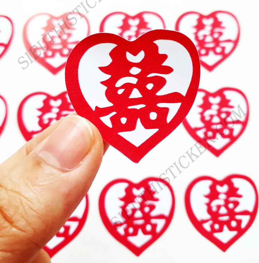 tem chữ hỷ trái tim dán tiệc cưới