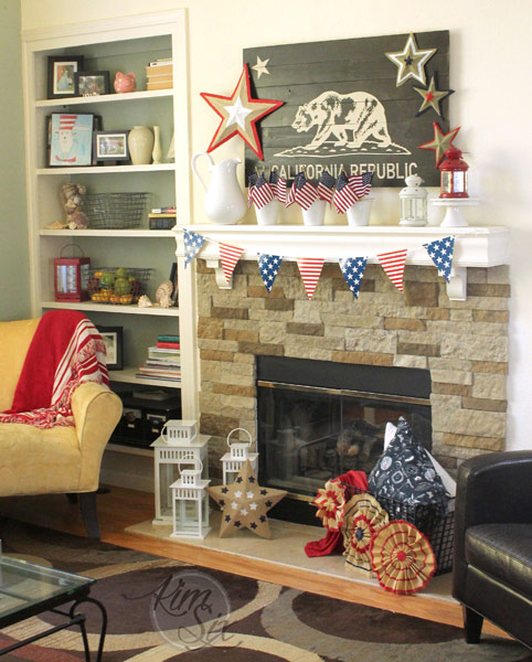 Red white an blue fireplace decorations