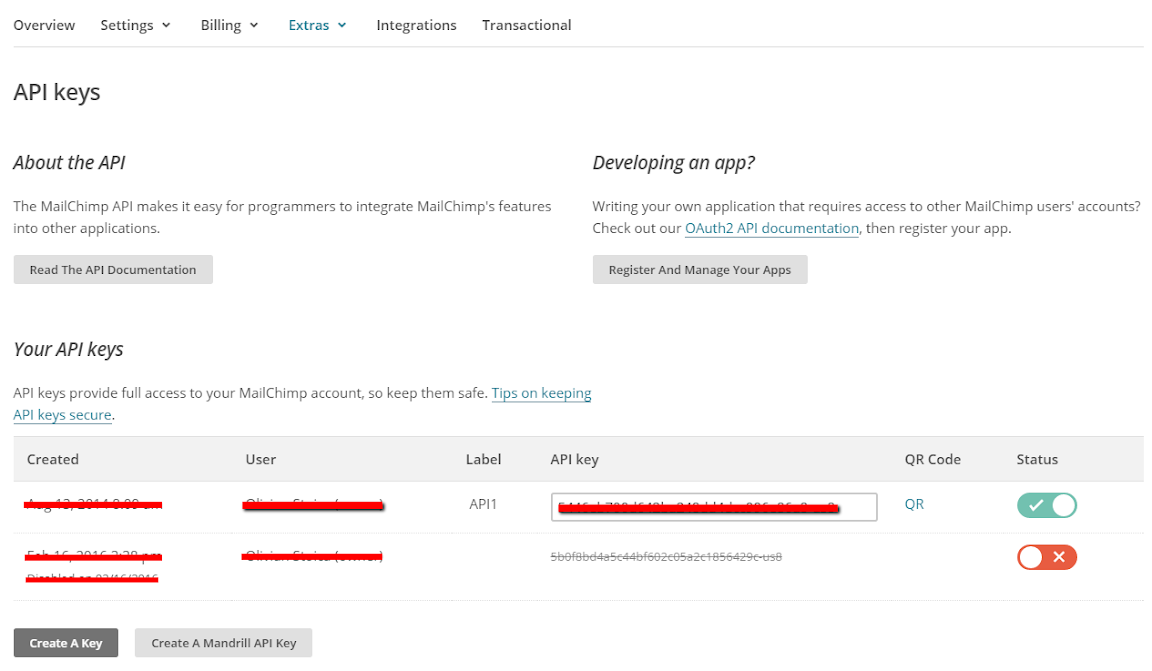 MailChimp integration for 123FormBuilder - create API key