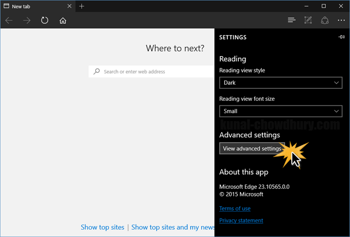 Windows 10 - Microsoft Edge - Advanced Settings (www.kunal-chowdhury.com)