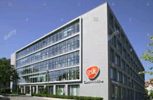 GSK building, pharmaceutical industry giant