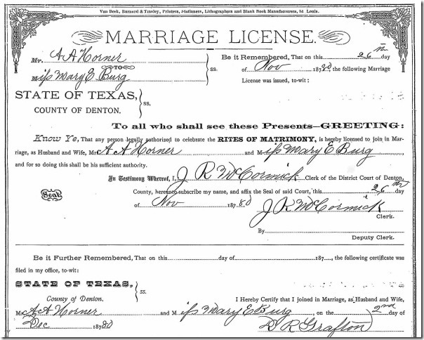 Horner 1880 Marriage