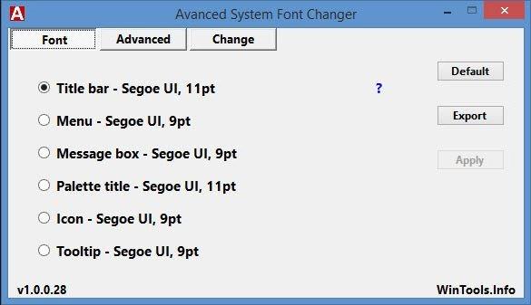 برنامج تغيير خط الويندوز Advanced System Font Changer 1.0.0.28