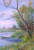 łodzie na Bugu, olej, płótno, 27 x 41 cm