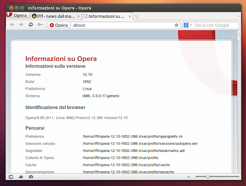 Opera 12.10 su Ubuntu