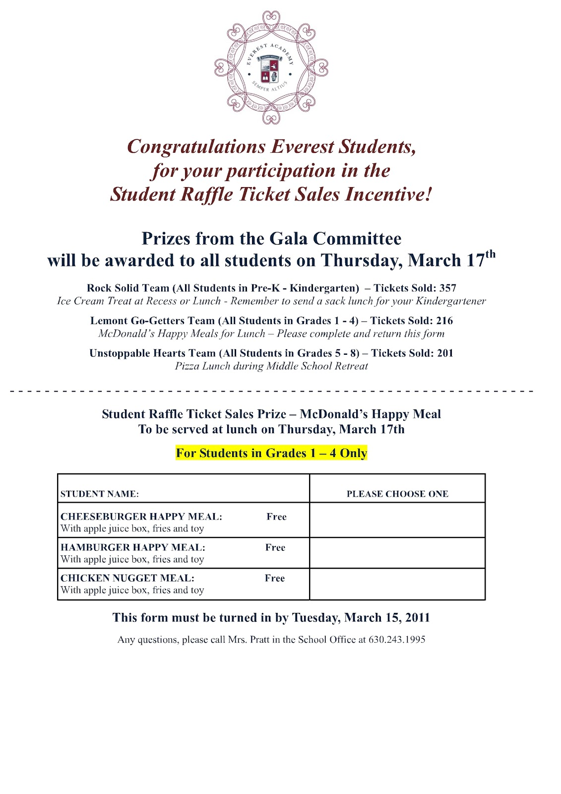 prizes for student raffle ticket sales