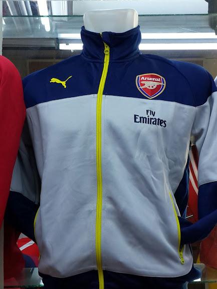 Jual Jaket Arsenal Puma Abu-Abu Sideline Biru 2014-2015
