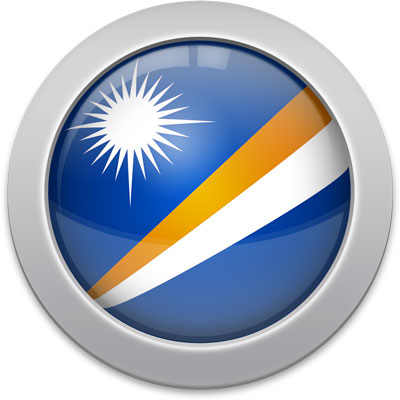 Marshallese flag icon with a silver frame