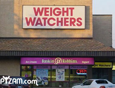 photo of a weight watchers sign over an ice cream shop