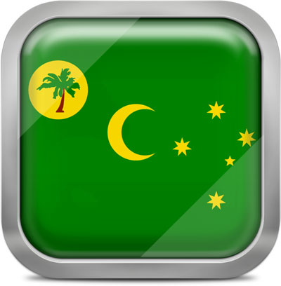 Cocos Islands square flag with metallic frame