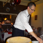 pasta with parmigiano-reggiano cheese made in front of our eyes in Haarlem, Noord Holland, Netherlands