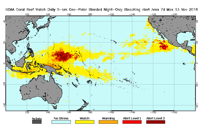 Daily 5-km satellite coral bleaching thermal stress monitoring for the Pacific Ocean, 13 November 2016. Graphic: Coral Reef Watch / NOAA