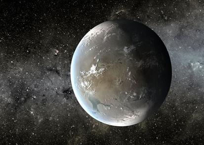 ilustração do exoplaneta Kepler-62f