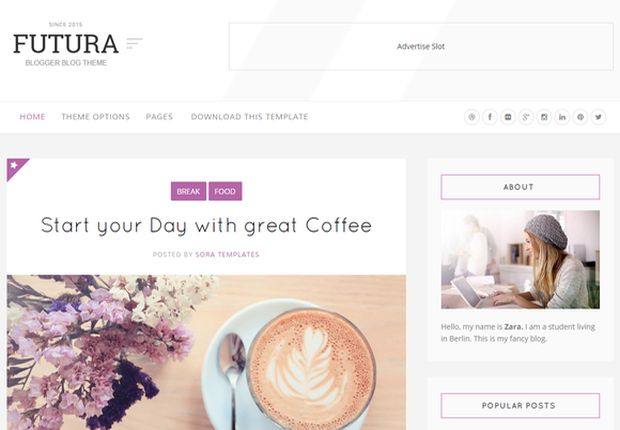 Futura White Blogger Template Free Download