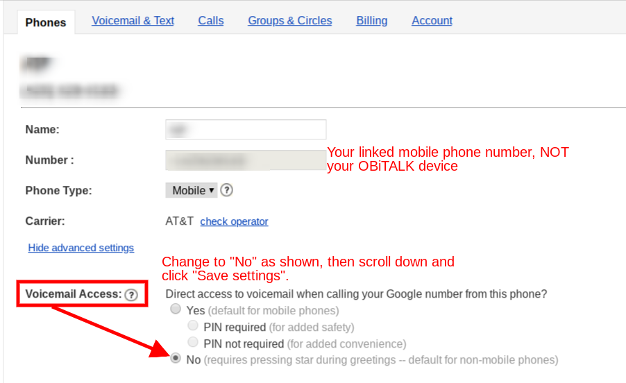 Cannot call google voice with forwarding phone - Google