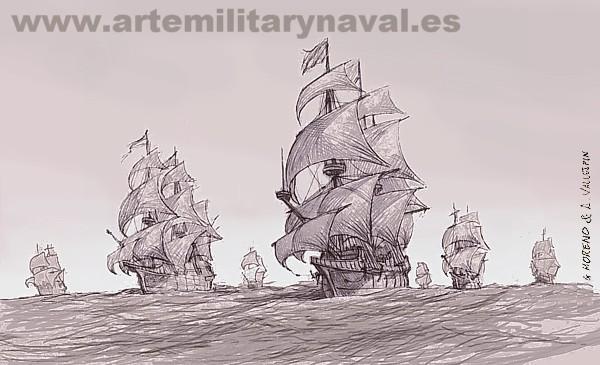 Galeones españoles navegando en convoy 1