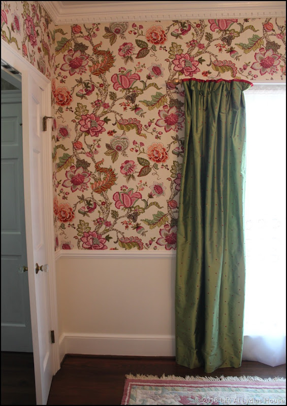 fabric covered wall and paint