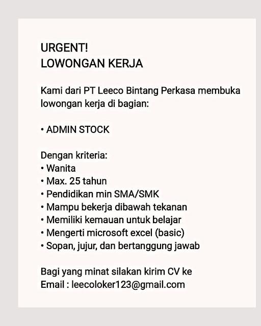 Loker Admin Stock PT Leeco Bintang Perkasa