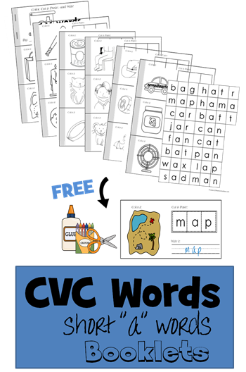 CVC Words Short A vowel word bookelets perfect for preschool, kindergarten, and 1st grade to color, cut and paste, and write words