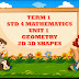 Term- 1. STD- 4  , ANIMATED LESSON  LESSON 1 GEOMETRY  2D 3D SHAPES PROPERTIES AND PERIMETER OF SHAPES.....