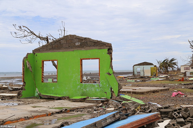 The shell of a house remains after Fiji's most powerful every cyclone, Cyclone Winston, left little standing and intact in Nasau Village. Photo: PR Image