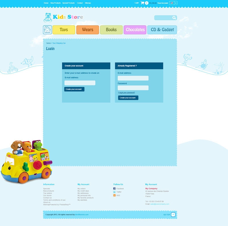 Kid Stores and Toy Stores Web Template - Login page