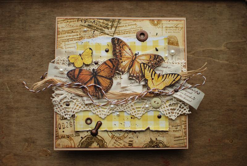 Открытки скрап с бабочками