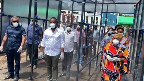 Mombasa Governor Hassan Joho with Suleiman Shahbal inspecting sanitizing prototype at Likoni Channel. PHOTO | BMS