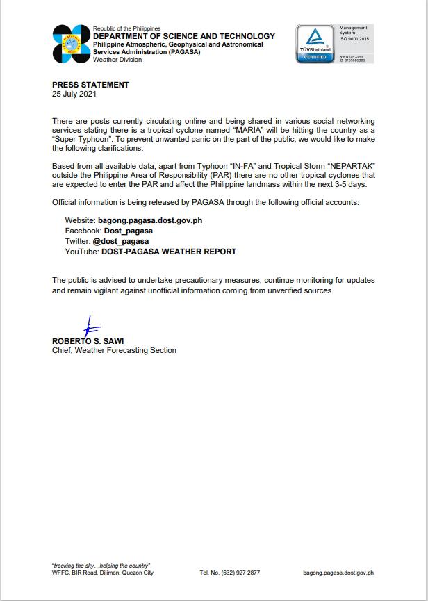 April 25 - DOST Press Statement