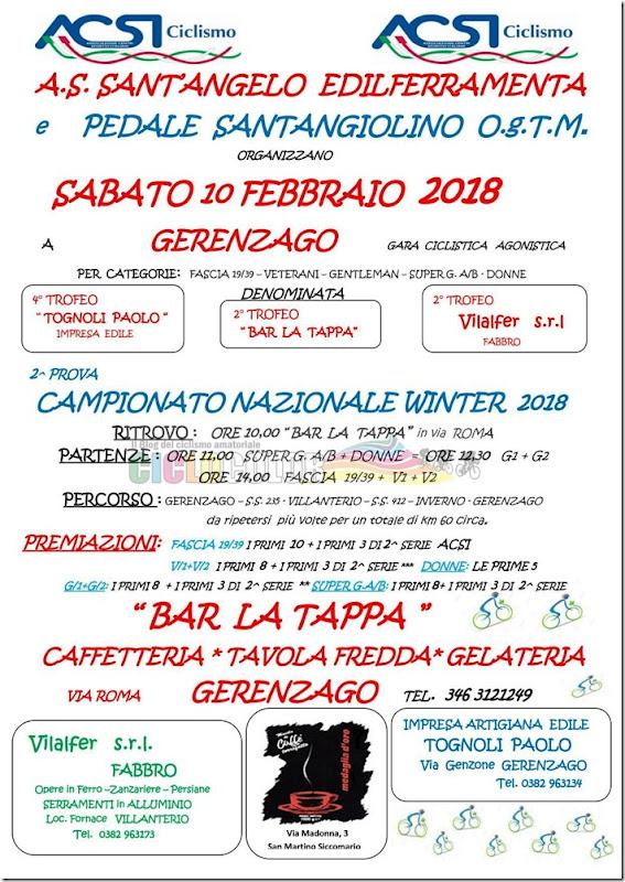 2018-02-10 ACSI - Strada 2ª prova Campionato Nazionale Winter 2018 a Gerenzago (PV) - Lombardia
