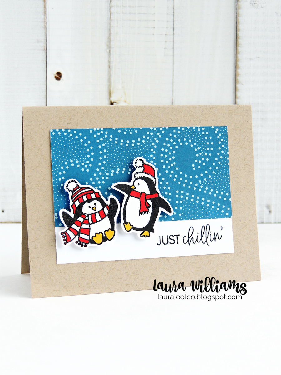 This merry band of stamped penguins is sure to add festive fun to winter card making and Christmas cards. This adorable clear stamp set is part of Impression Obsession's October release and I'm excited to share the crafty holiday goodness with you.