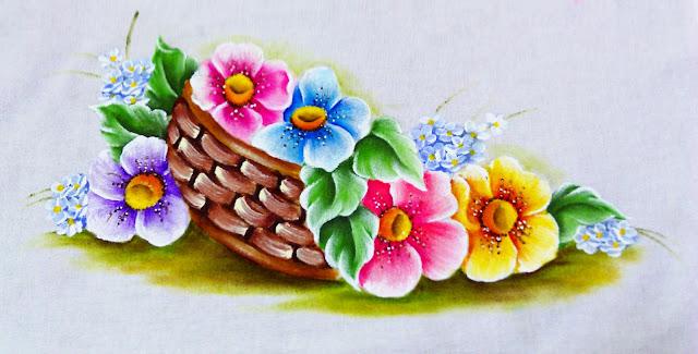 pintura de cesto de flores do campo