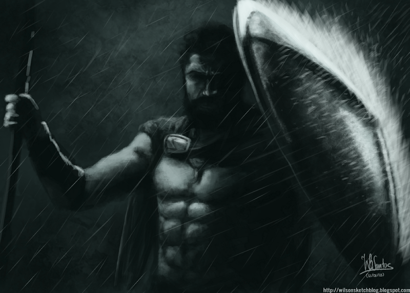 Digital painting of King Leonidas from 300 under heavy rain, using Krita 2.5 Alpha.