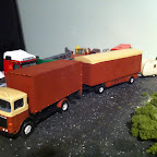ERF B series . Used as a showmans wagon, just happened to see one traveling the roads so thought of something different to make . its got a scratch built body from plasticard .and a langley box trailer .