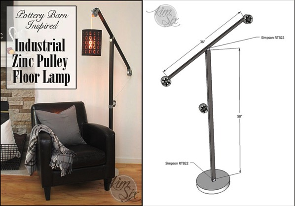 Industrial zinc pulley floor lamp pottery barn knockoff the kim diy pottery barn pulley floor lamp solutioingenieria Images