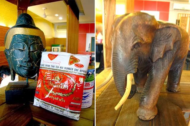 泰式奶茶原料及木雕大象,嗯~這算是象徵泰國的擺飾了吧XD-二分之一泰式小館,台中泰式料理餐廳