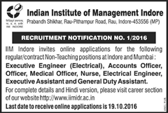 IIM Indore Non-Teaching Posts 2016 www.indgovtjobs.in