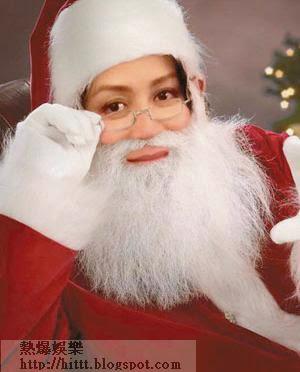 劉嘉玲在微博上載變成聖誕老人的合成圖,將聖誕歡愉氣氛傳給粉絲。