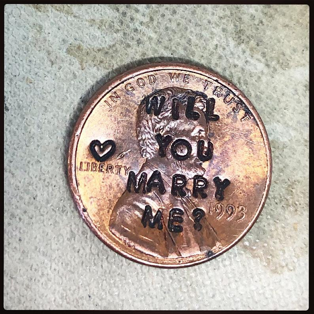 American coin Will you marry me engraved