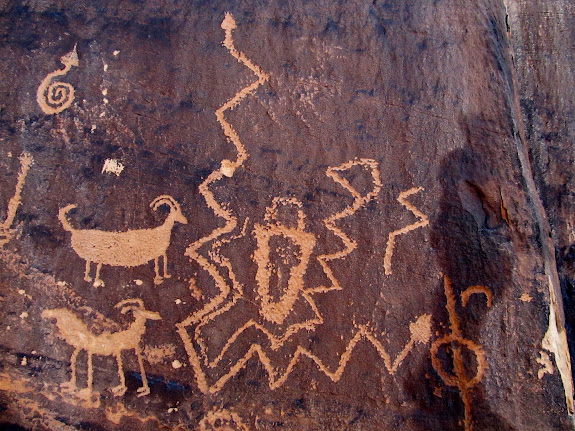Many snake petroglyphs
