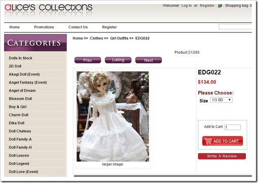 edg022 Dress in White for BJD from Alice's Collections