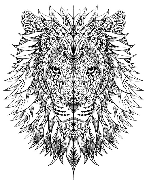 Coloring Adult Difficult Lion Head Lion Head Drawn With Very Smart And  Harmonious Patterns  From The Gallery  Animals