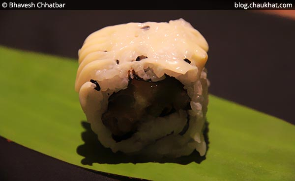 Close-up of Asparagus Tempura Sushi at Shizusan (The Asian Bistro) in Phoenix Market City at Viman Nagar area of Pune