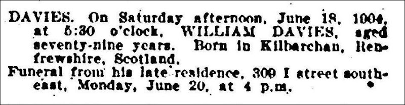 DAVIES_William_death notice_EveningStar_pg 5_20 Jun 1904_WashingtonDC